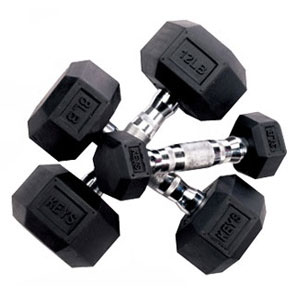 Keys Fitness Rubber Hex Dumbbells